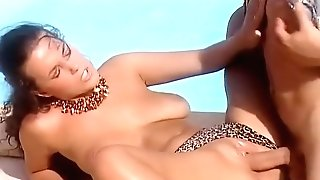 Poolside Fucky-fucky - Huge-titted Black-haired Gets Fucked