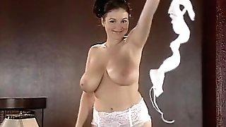 Big Tits Undress Taunts On Desk