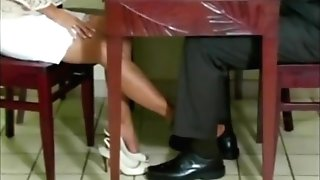 Hot Cougar Roni Gives Her Man A Nylon Footsie Over Dinner