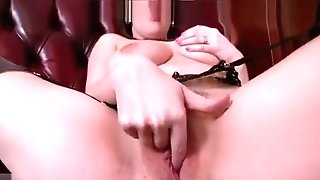 Big Natural Tits Black-haired Masturbates In Retro Nylons Garter